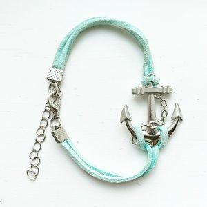 Baby blue suede & silver anchor nautical bracelet